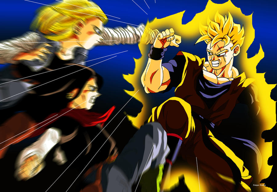 C17 and C18 vs Gohan of future by Sersiso