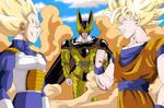 Vegeta, Goku and Cell