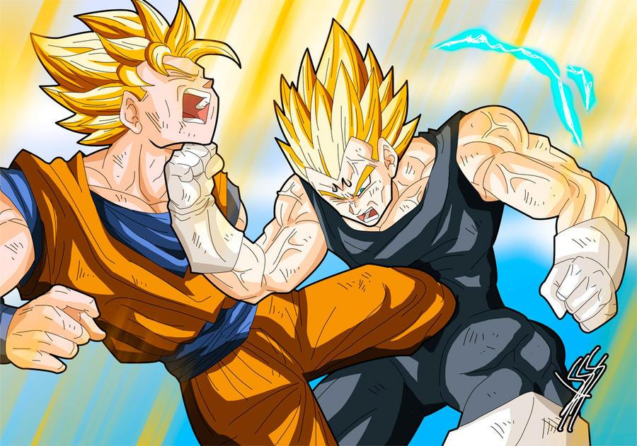 Vegeta and Goku by Sersiso by Sersiso