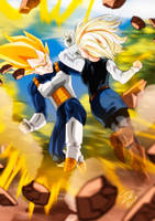 Vegeta And Number 18 by Sersiso