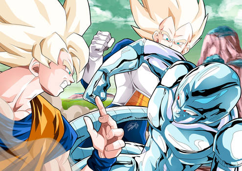 Fight between Goku, Vegeta and Cooler