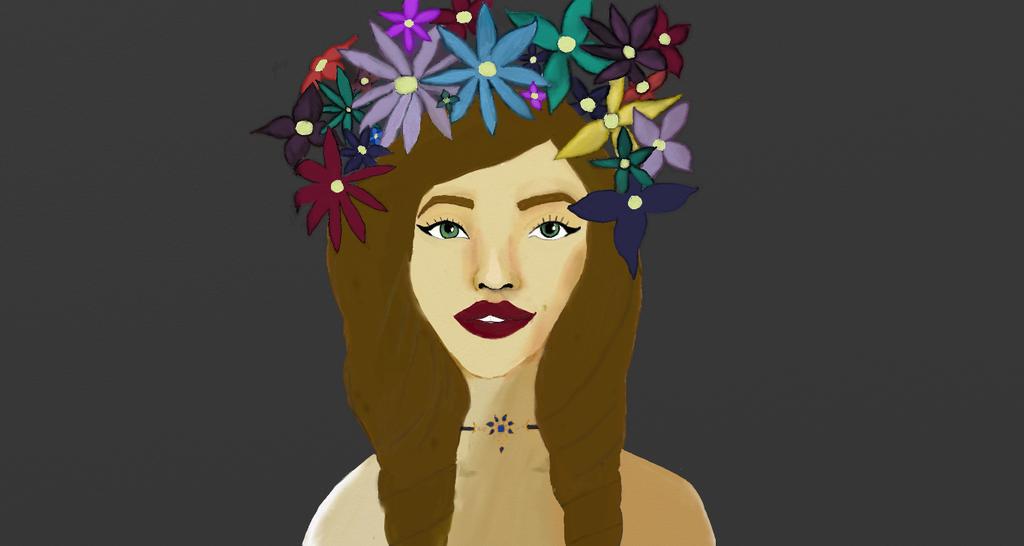 Digital Girl with flowers by starryeyedabs
