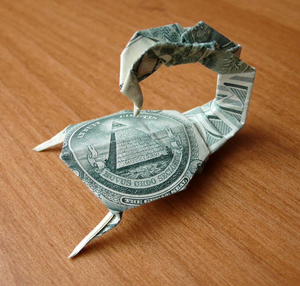 Dollar bill origami tree frog by craigfoldsfives on deviantart dollar bill scorpion by craigfoldsfives jeuxipadfo Image collections