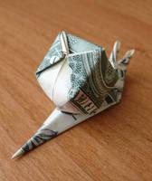 Dollar Bill Origami Snail by craigfoldsfives