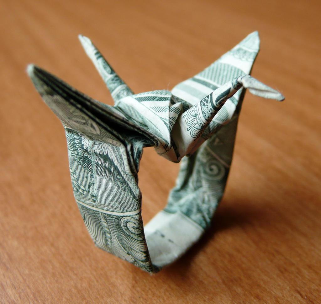 Dollar Bill Origami Crane Ring by craigfoldsfives