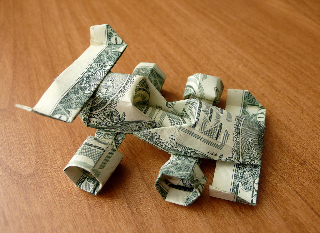 Dollar Bill Origami Race Car by craigfoldsfives