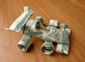 Dollar Bill Origami Race Car by craigfoldsfives