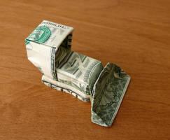 Dollar Bill Origami Bulldozer by craigfoldsfives