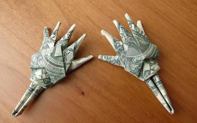 Dollar Bill Origami Skelton Hands by craigfoldsfives