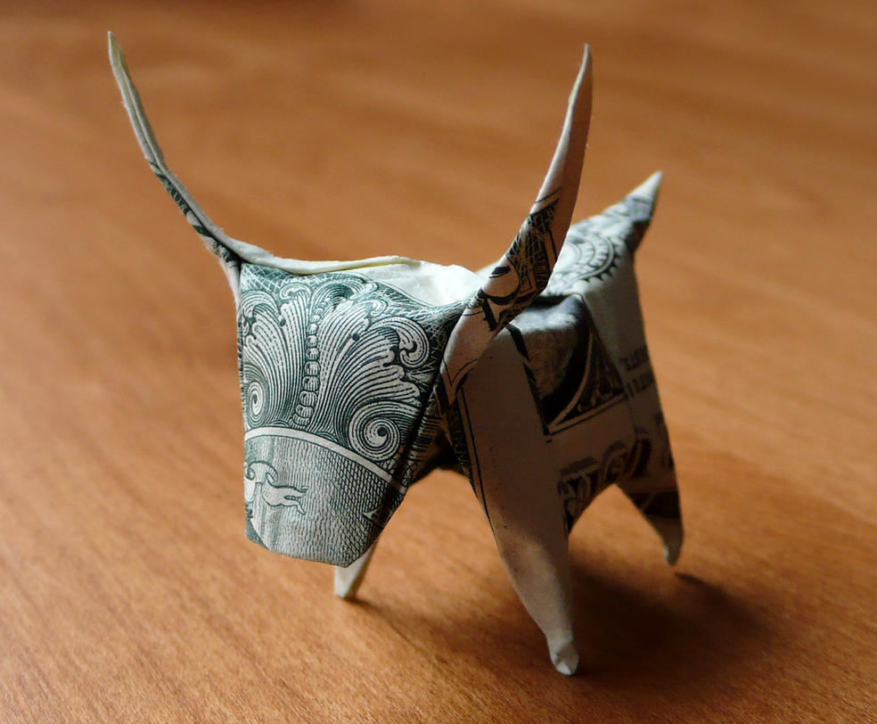 Dollar Origami Longhorn Steer by craigfoldsfives
