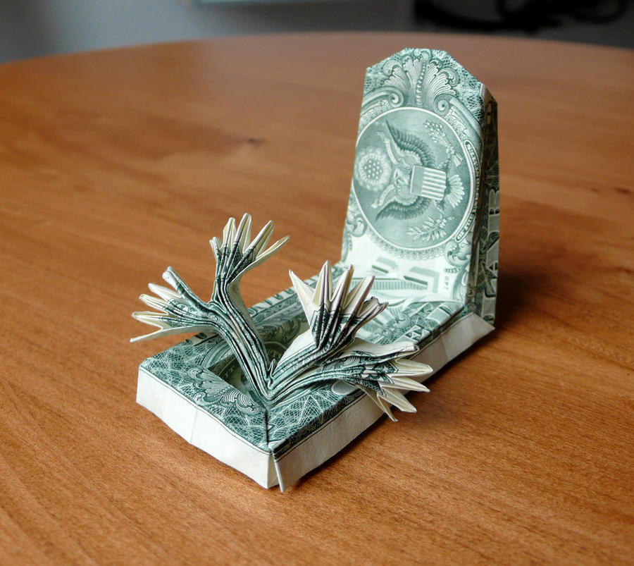 Dollar Origami Tombstone with hands by craigfoldsfives