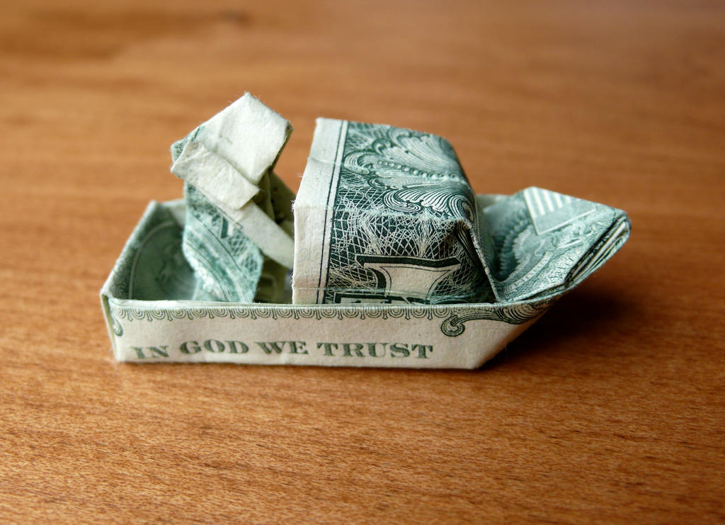 Dollar Origami Fisherman In A Boat V7 By Craigfoldsfives