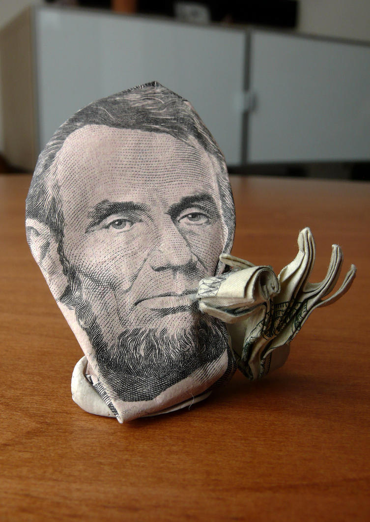 Dollar Origami Abe getting normal by craigfoldsfives