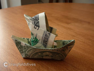 Dollar Origami Santa in a Canoe v2