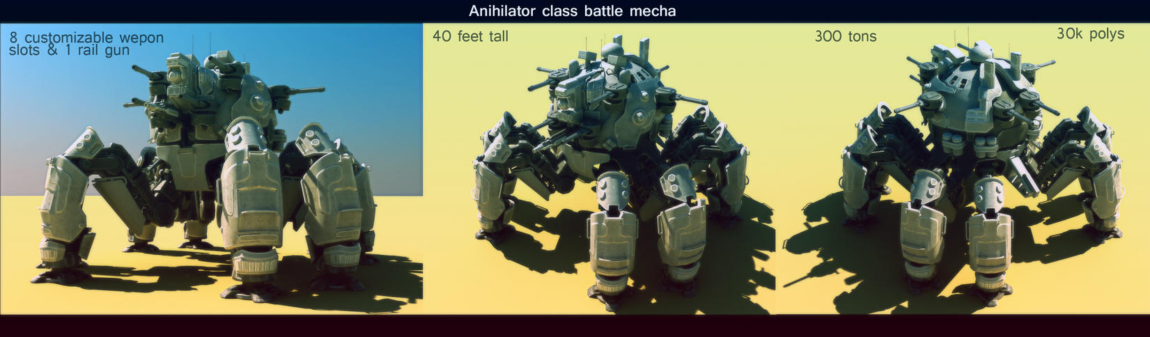 Annihilator class battle mecha WIP by Avitus12