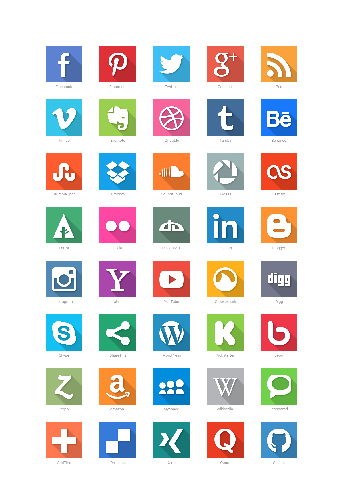 40 Social Media Flat Icons by GraphicBurger