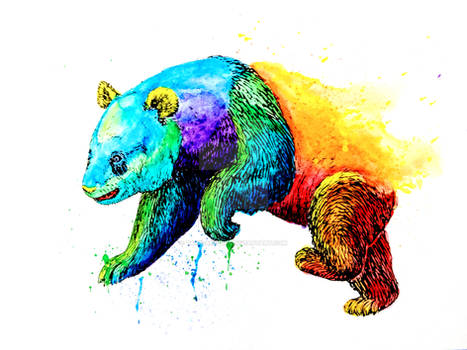 Neon Rainbow Pride Animals Panda