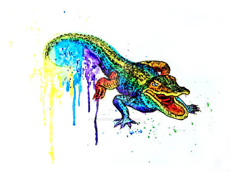 Neon Rainbow Pride Animals Alligator