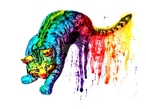 Neon Rainbow Pride Animals Cat