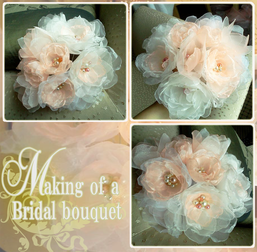 Organza Bridal Bouquet - pink by CovenEye