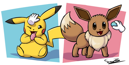 Pikachu and Eevee by bellydog