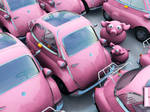 Archigraphs Pink Car and Pigs by Cyberella74