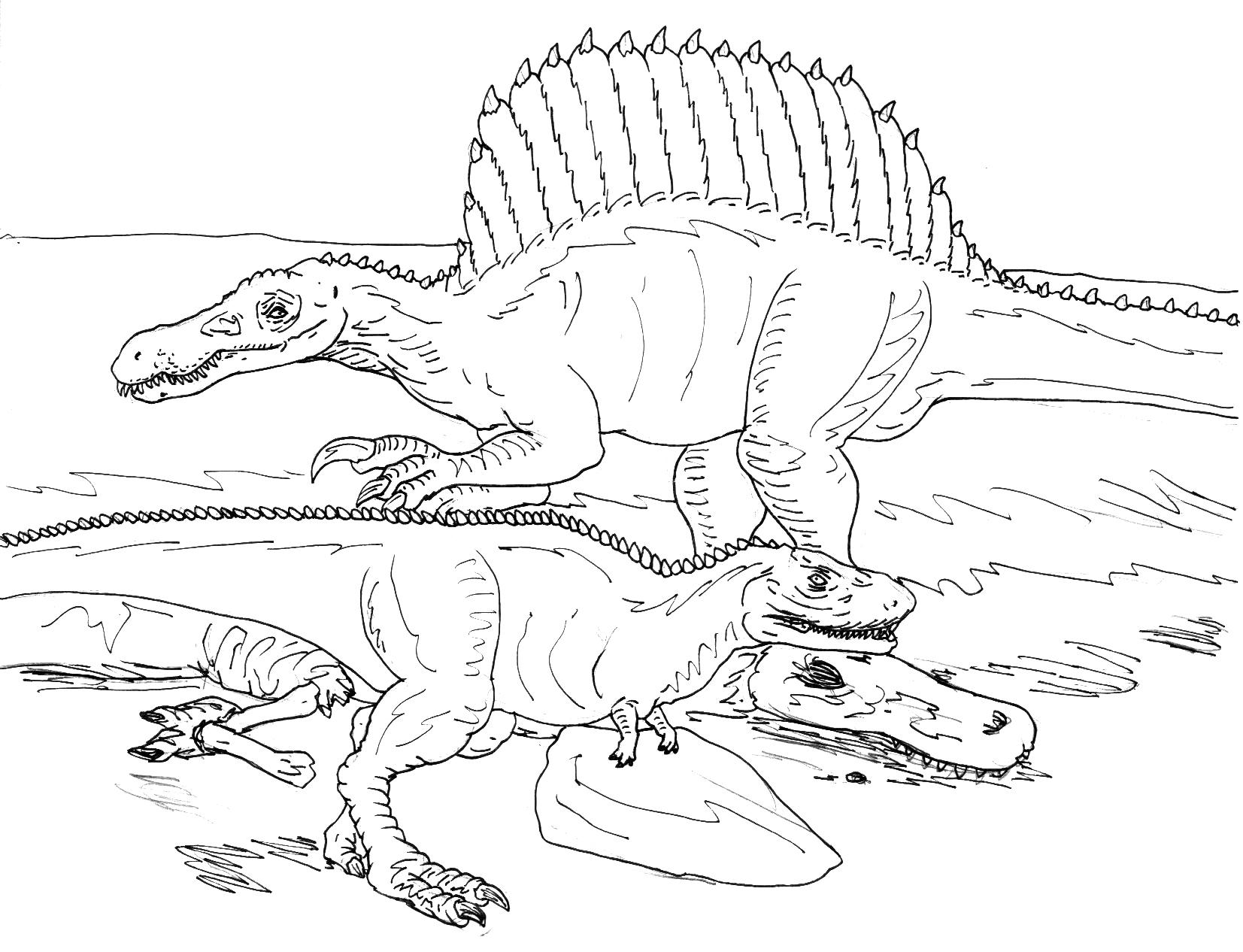 Spinosaurus Vs Rugops Bw By Avancna On Deviantart