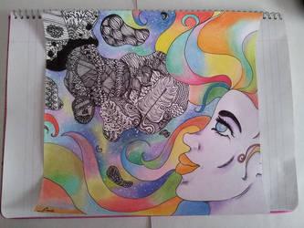 La chica del espacio y las doodle moleculas gigant