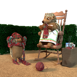 Mother Hedgehog Knitting by ChristopherReality