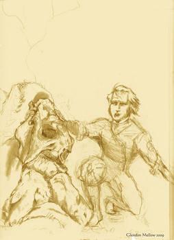 Darwin and Glyptodon -sketch