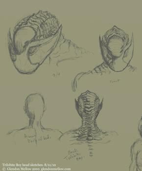 More Trilobite Boy head sketch