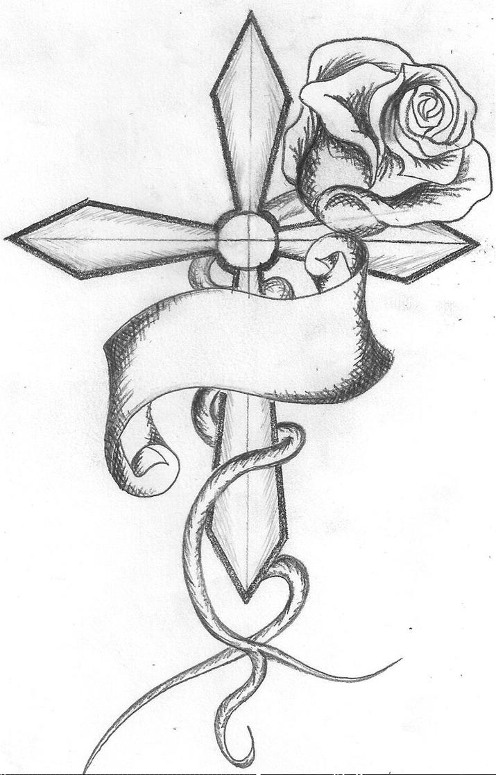 Cross with Rose Drawing