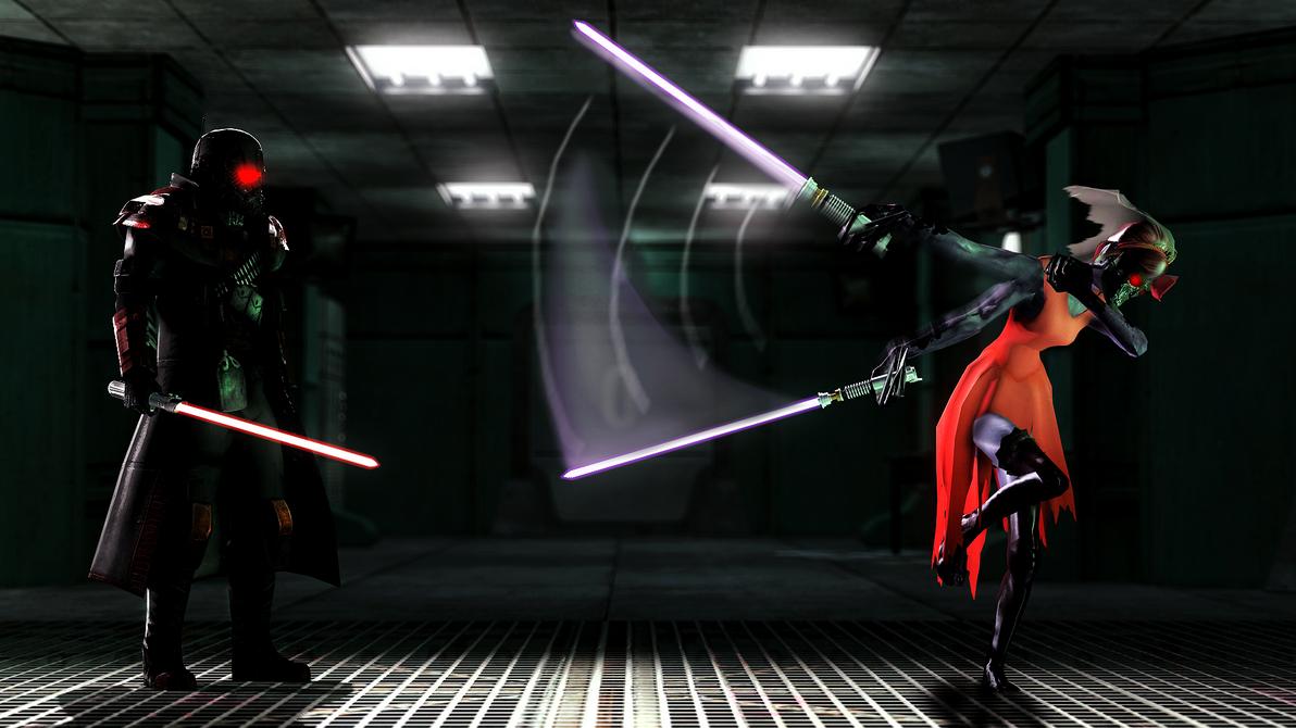 lightsaber fight by witchygmod on deviantart
