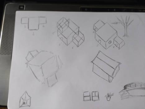 Sketches de casas em perspectiva