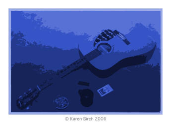 Blue Guitar, fags and coffee by karenbirch