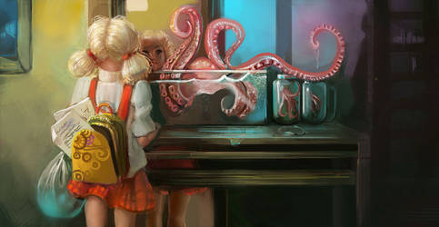 Littlegirlwithoctopus by NghtWtch