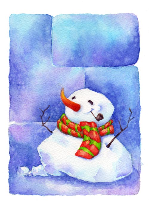 Christmas Card - Snowman by terepalomitas