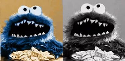 Cookie Monsters first appearance Colorised.