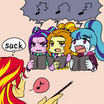 Sunset Shimmer and Dazzlings