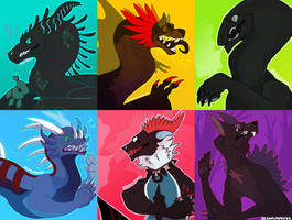 six cute monsters by OokamiMonster