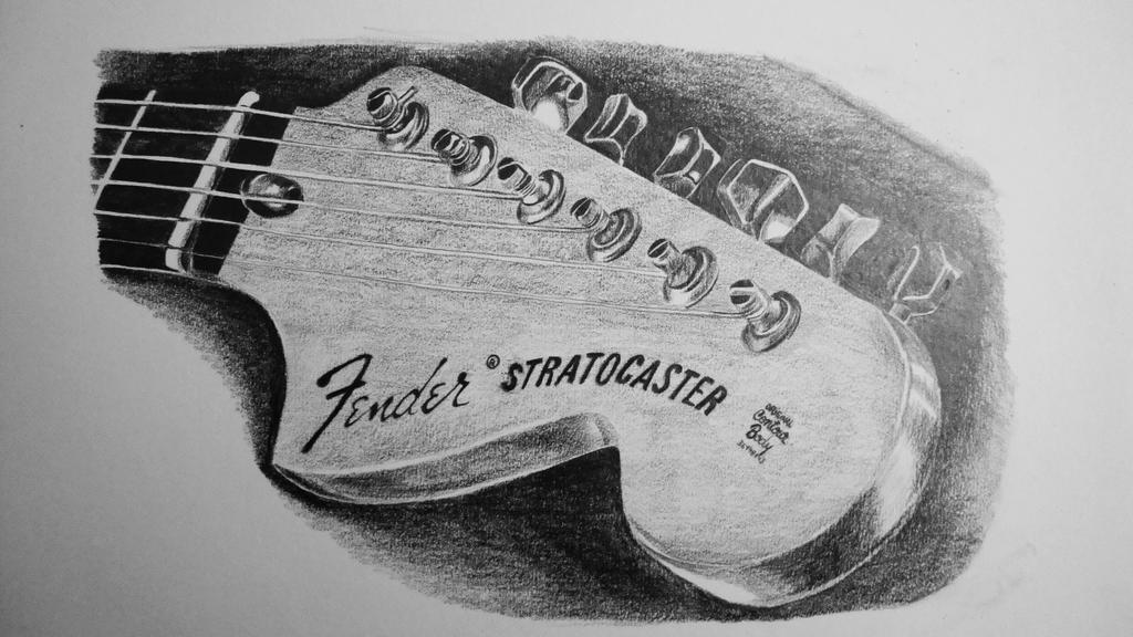 Fender guitar drawing by robiartimre