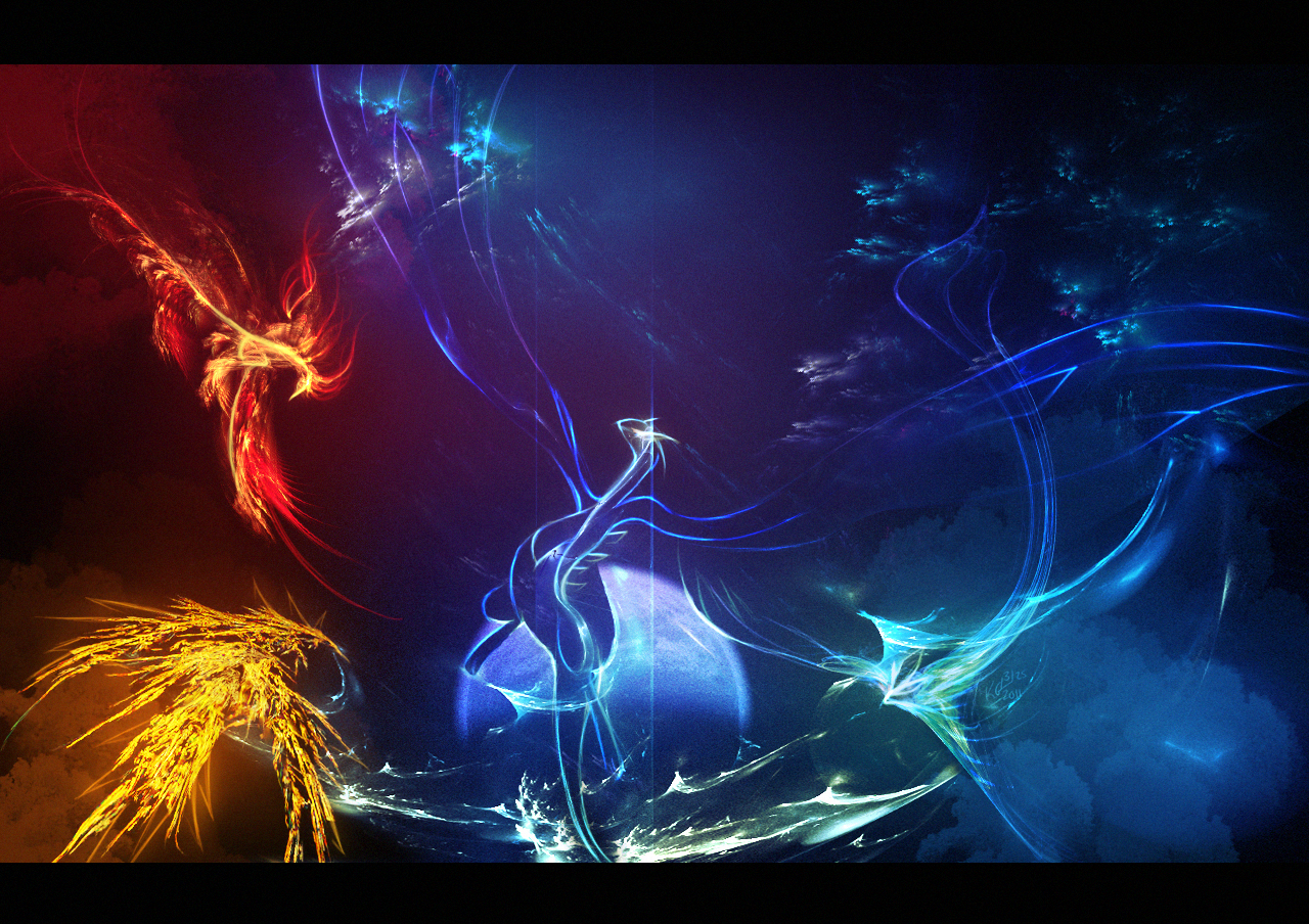 Fire and ice fractal abstract wallpaper hd wallpapers -  Tuooneo Fire Ice And Lightning By Tuooneo
