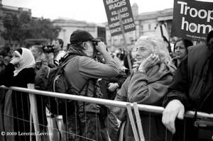 Elderly protester