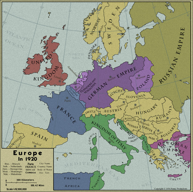 """the history of the great war in europe The origins of europe's """"great war""""  the major european countries in 1914 great britain great britain, before wwi, had the strongest navy, world's richest country,  france and great britain declared war on germany because they honored the triple entente and supported russia."""