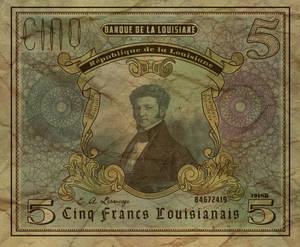 Five Louisianian Franc Note