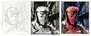 Hellboy Portrait 2012-steps