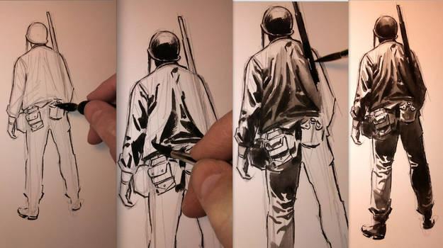Flying Column Sketch 03 Process