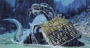 Jurassic Park 3 Concept Art - River Attack by IndominusRex