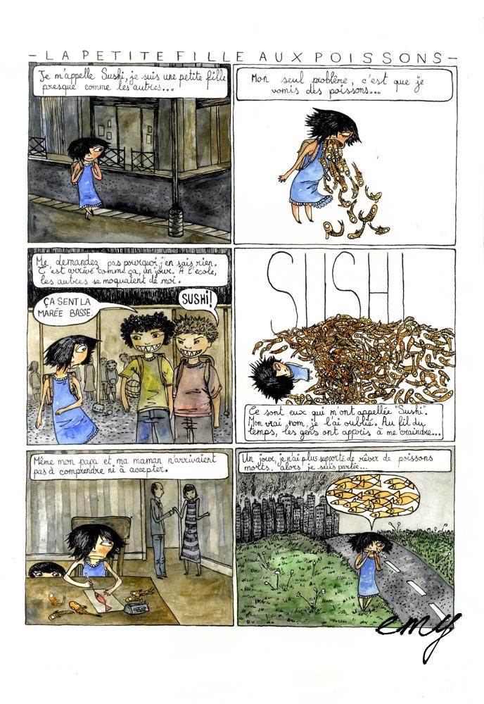 La Petite Fille aux Poissons page 1 by emychaoschildren