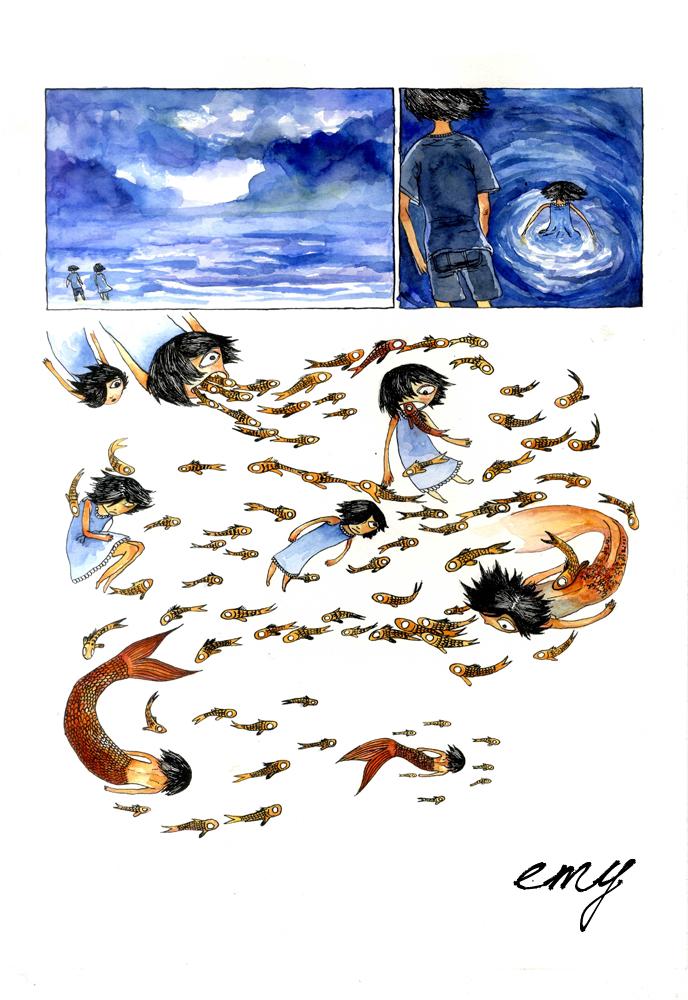 La Petite Fille aux Poissons page 3 by emychaoschildren